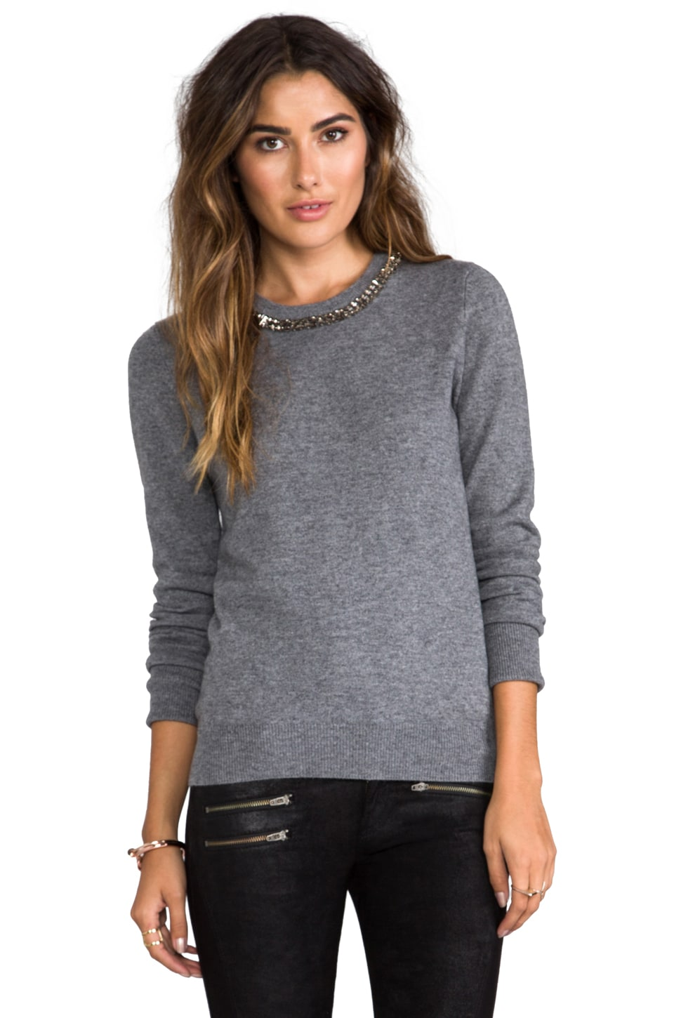 Equipment Shane Pullover w/ Embellished Neck in Heather Grey