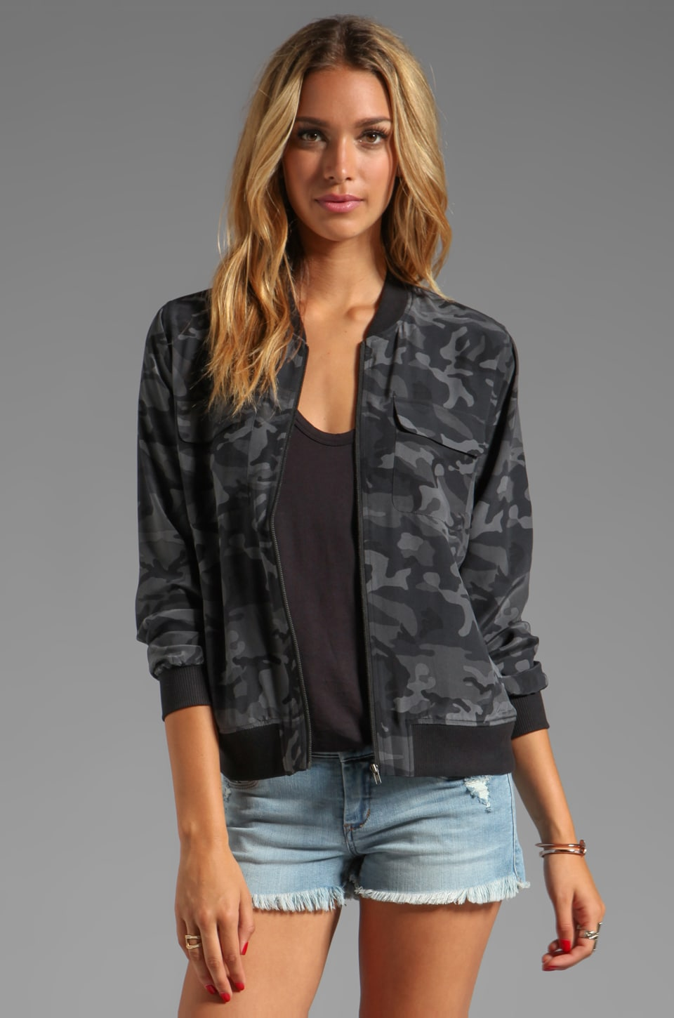 Equipment Underground Camo Printed Abbot Bomber with Contrast in Traditional Camo