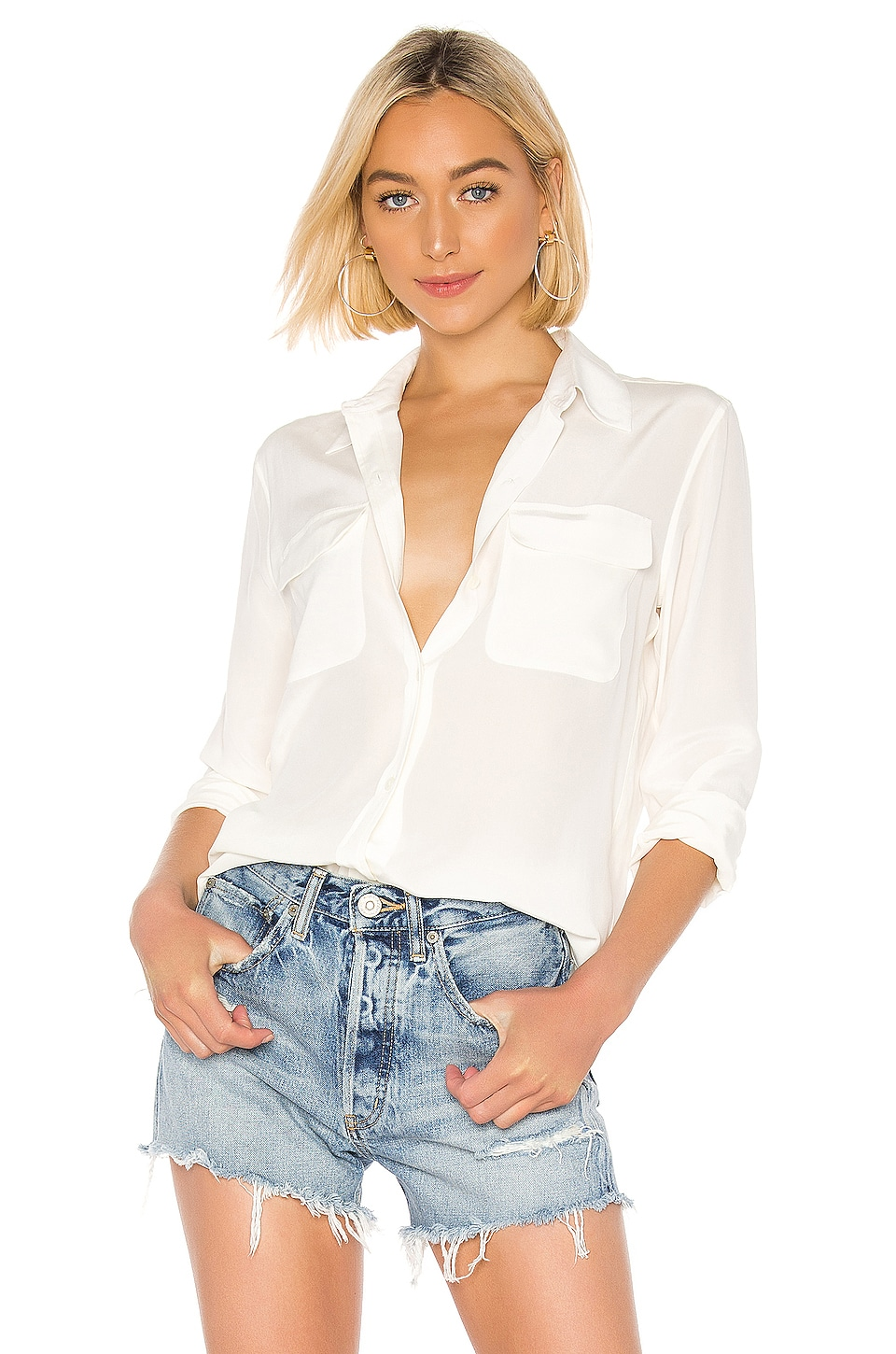 Equipment Signature Blouse in Nature White