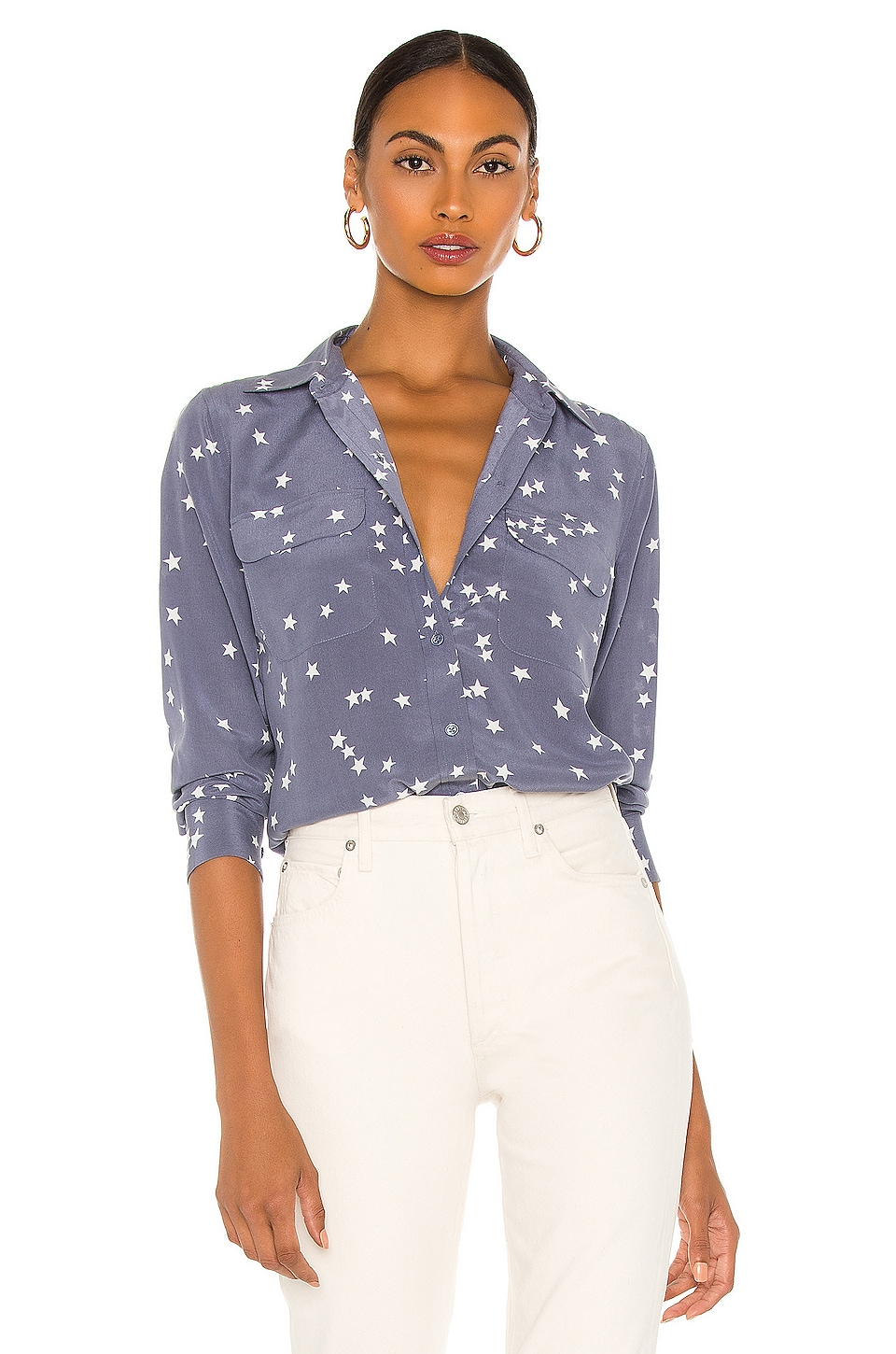 Equipment Starry Night Slim Signature Blouse in Blue Stone