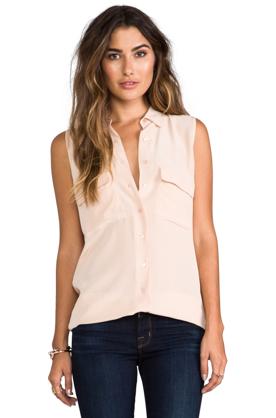 Equipment Sleeveless Signature Blouse in Nude