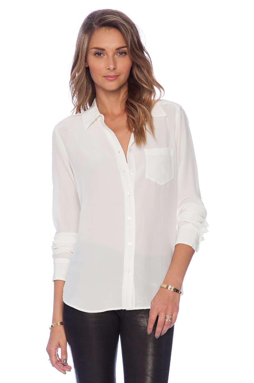 Equipment Brett Blouse in Nature White