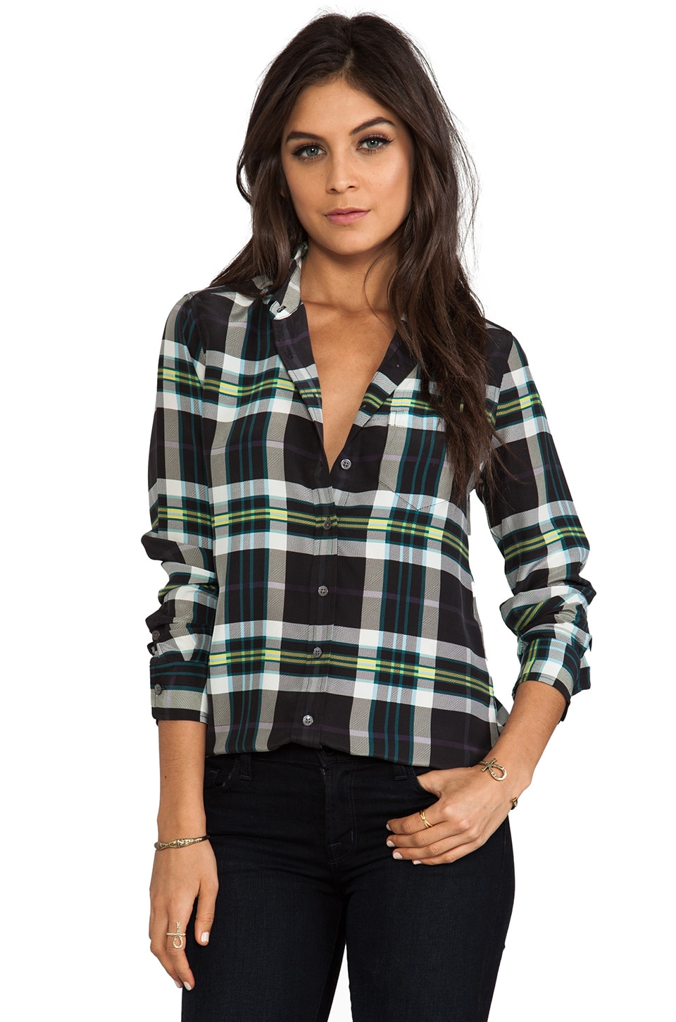 Equipment Oversize Plaid Brett Blouse in Pine Multi