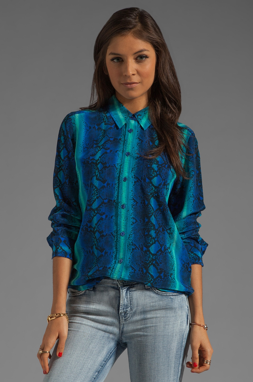 Equipment Brett Rainbow Diamondback Printed Blouse in Regal Blue Multi