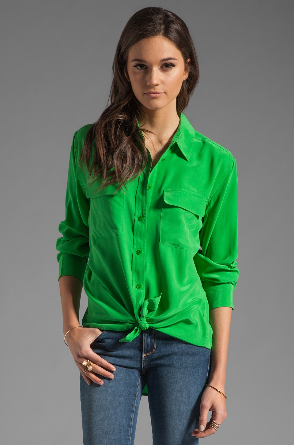 Equipment Signature Blouse in Fern Green