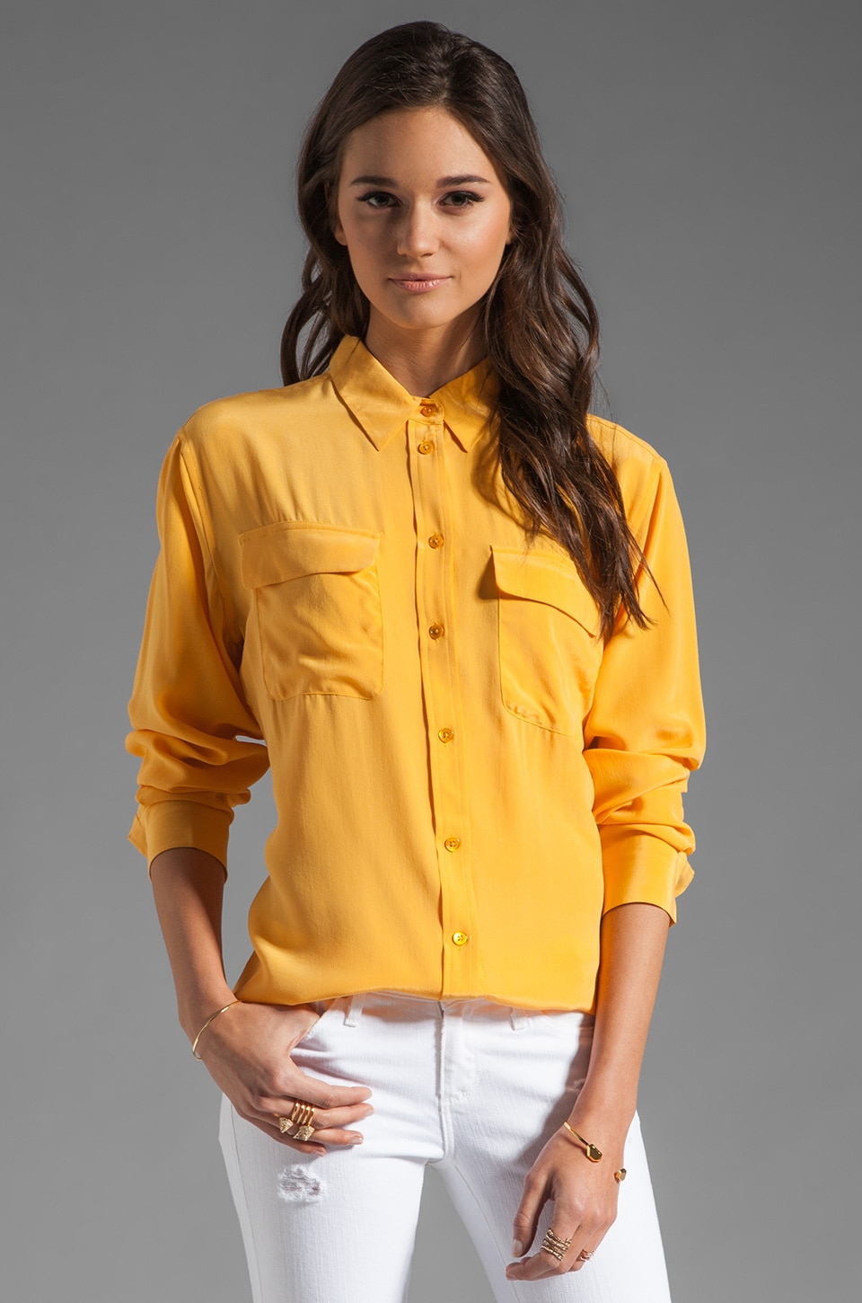 Equipment Signature Blouse in Golden Poppy