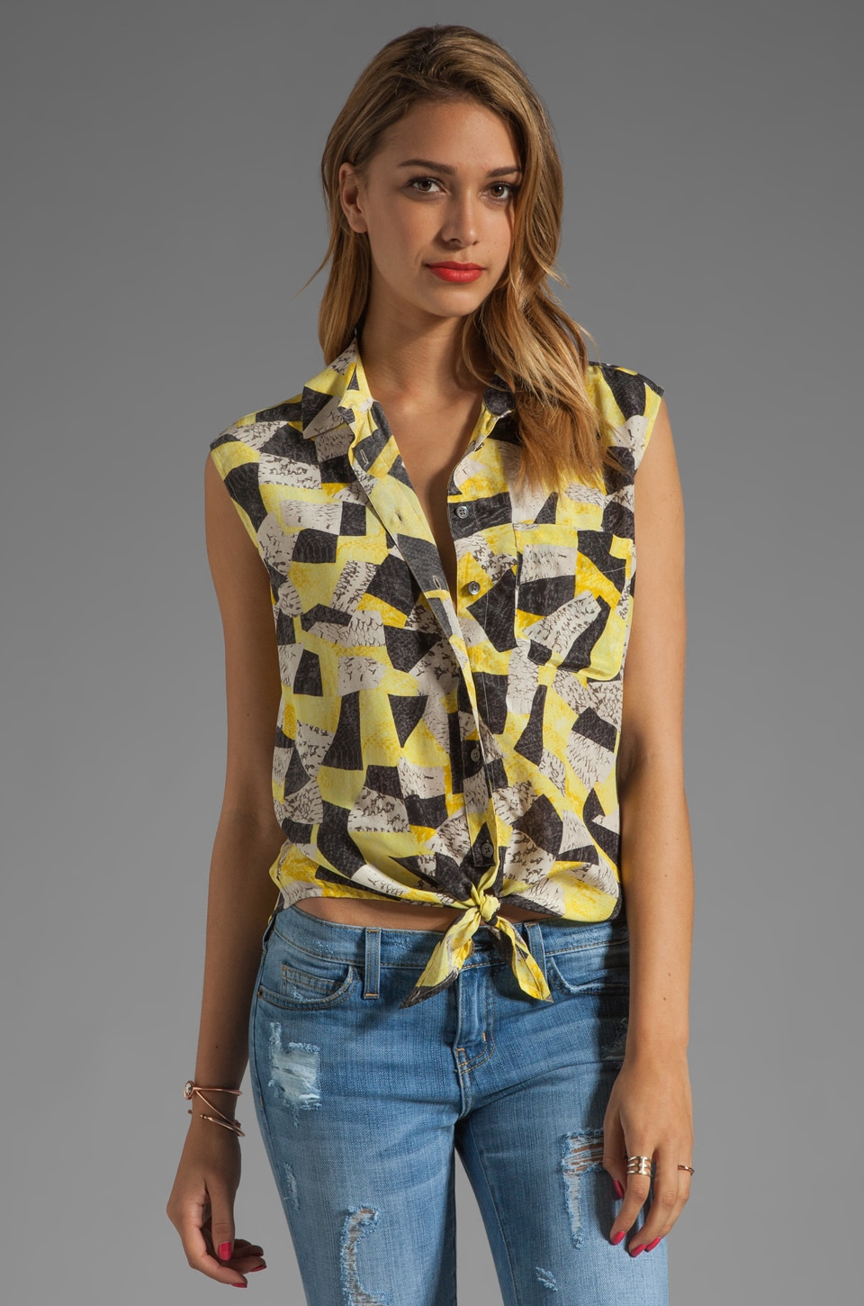 Equipment Diem Patchwork Snake Tie Front Blouse in Blazing Yellow