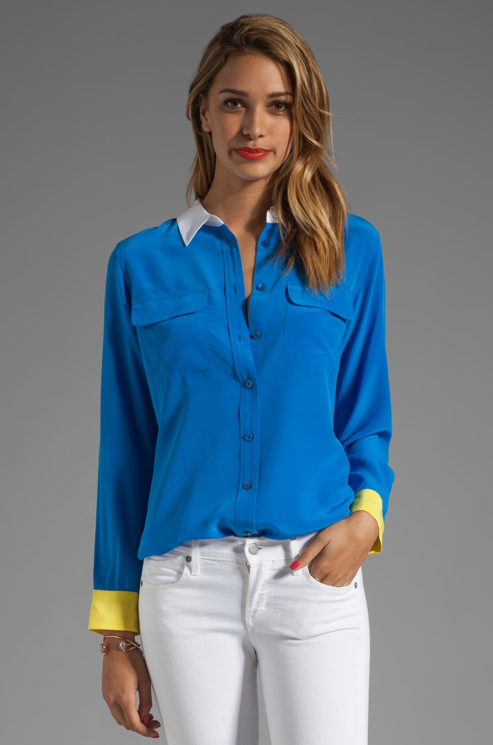 Equipment Slim Signature Colorblock Blouse in Electric Blue