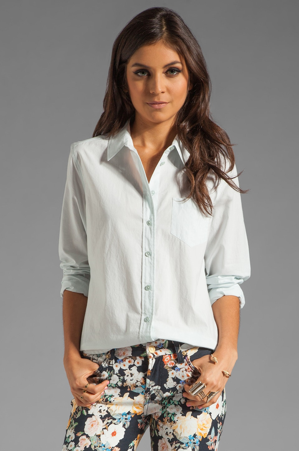Equipment Brett Washed Cotton Poplin Blouse in Ice Blue
