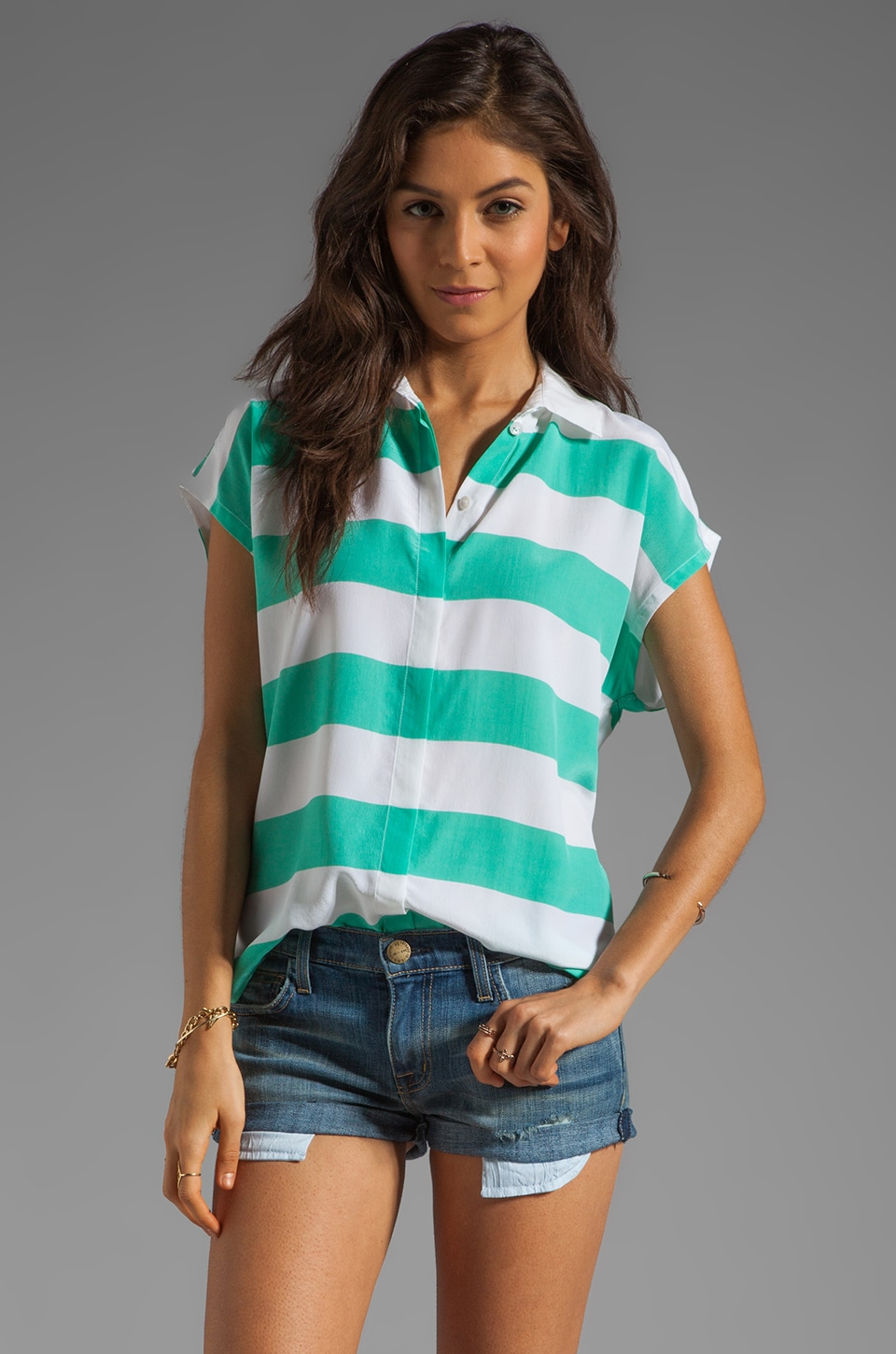 Equipment Leandra with Contrast Blouse in Aqua Marine