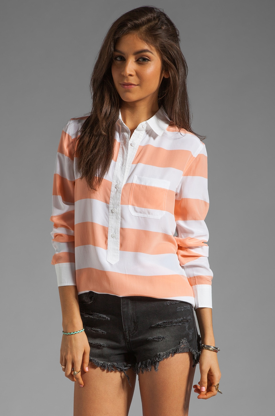 Equipment Capri with Contrast Blouse in Peach Nectar