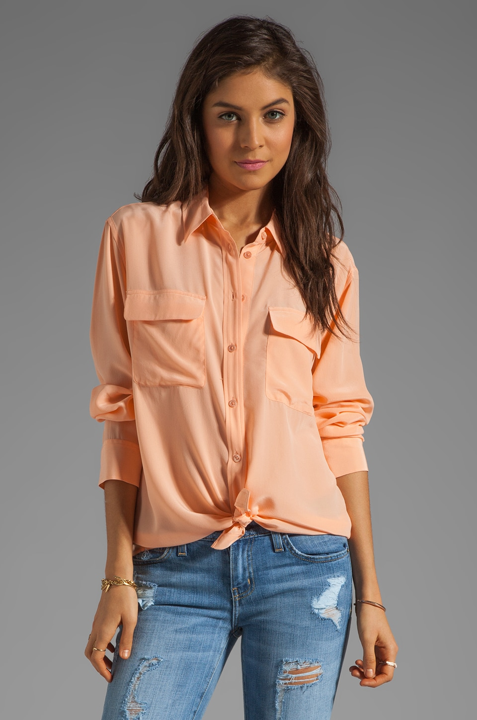 Equipment Signature Blouse in Peach Nectar