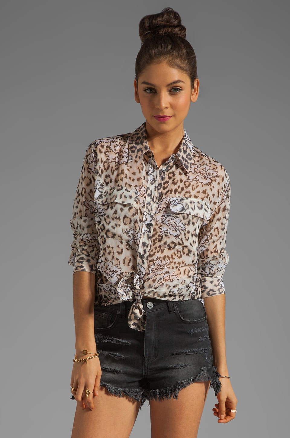Equipment Signature Floral Leopard Blouse in Natural