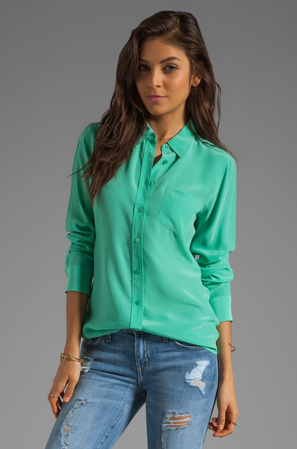 Equipment Brett Vintage Wash Blouse in Aqua Marine