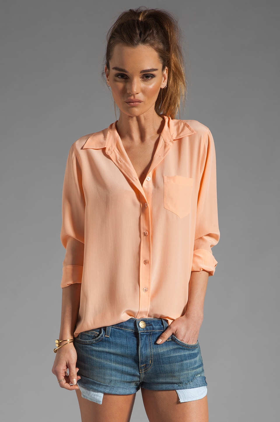 Equipment Brett Vintage Wash Blouse in Peach Nectar