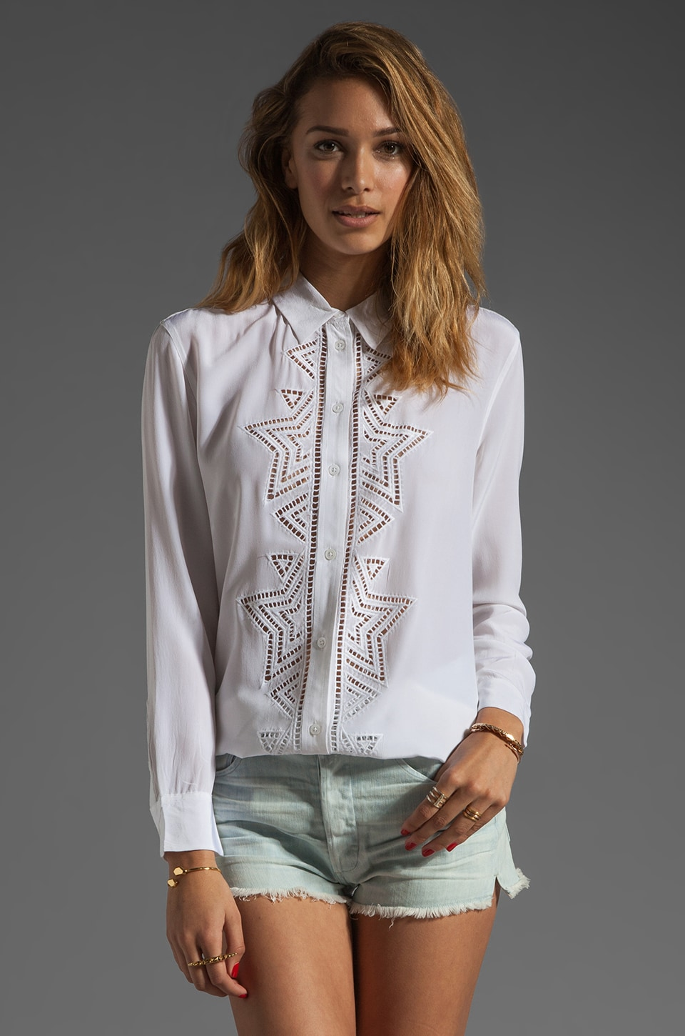 Equipment Reese Starstitch Blouse in Bright White