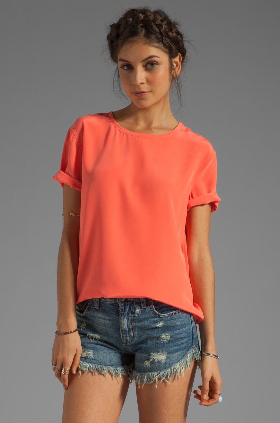 Equipment Riley Tee in Neon Orange