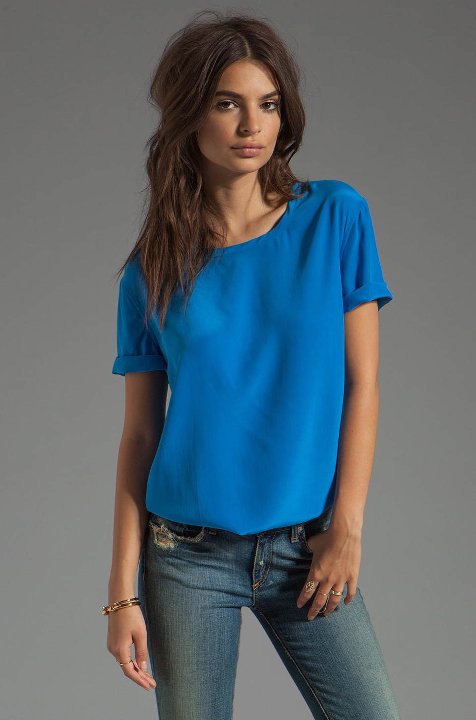 Equipment Riley Tee in Electric Blue