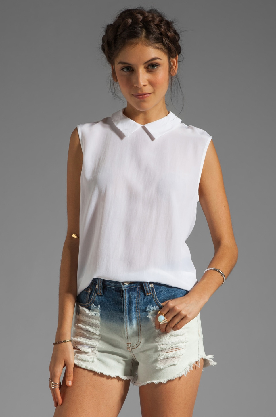 Equipment Elliot Sleeveless Blouse in Bright White