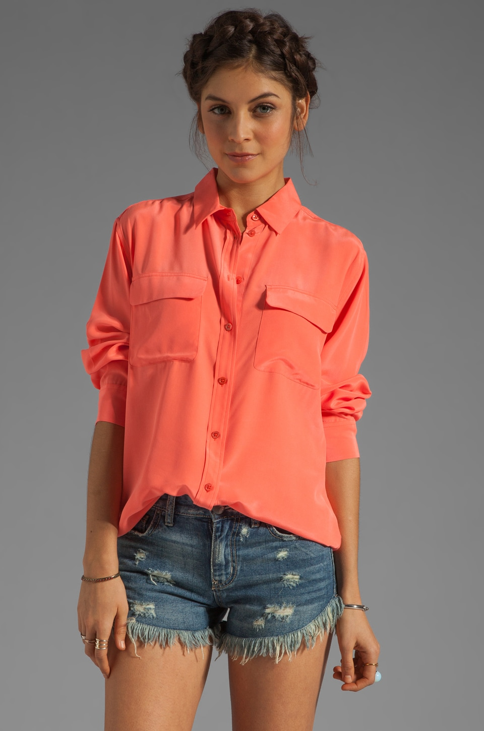Equipment Signature Blouse in Neon Orange