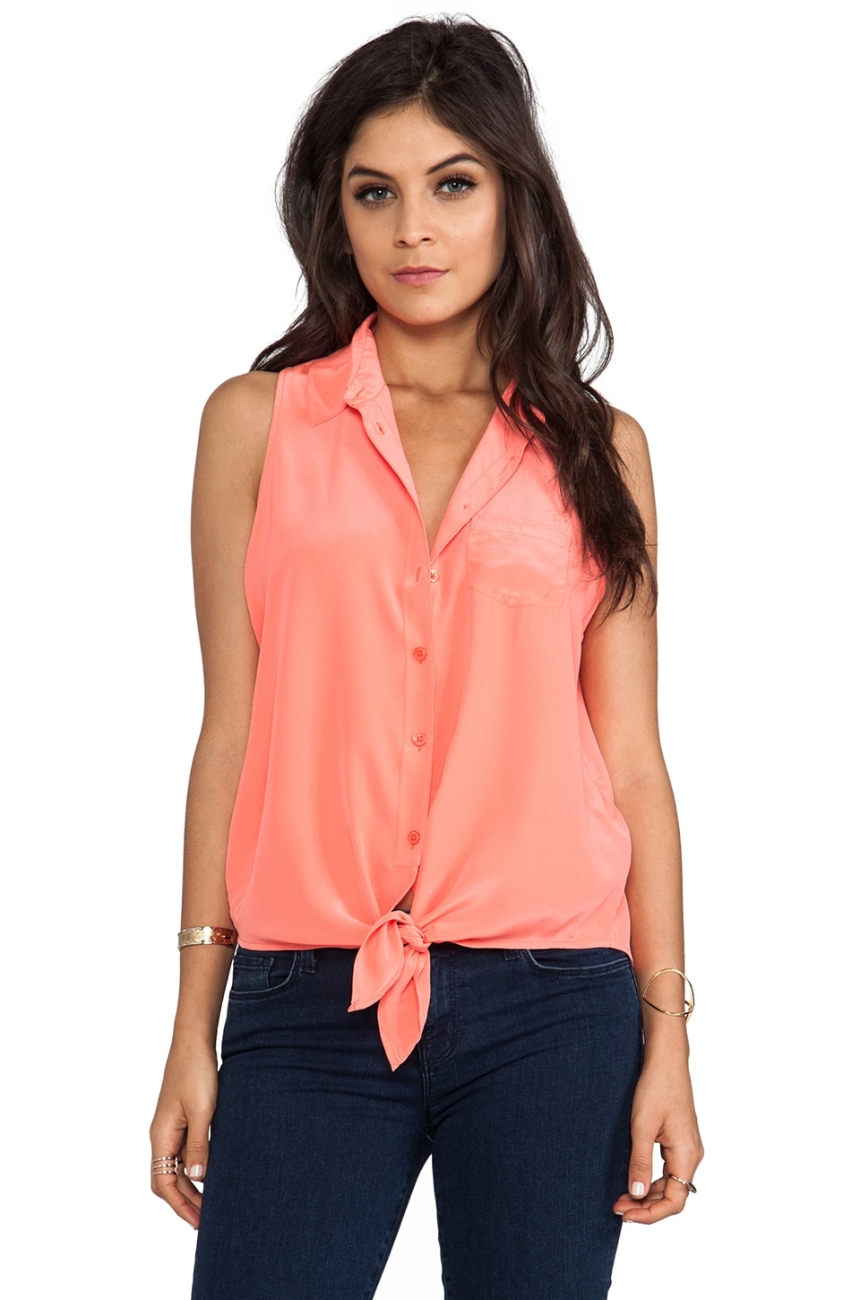 Equipment Mina Sleeveless Tie Front Blouse in Neon Orange