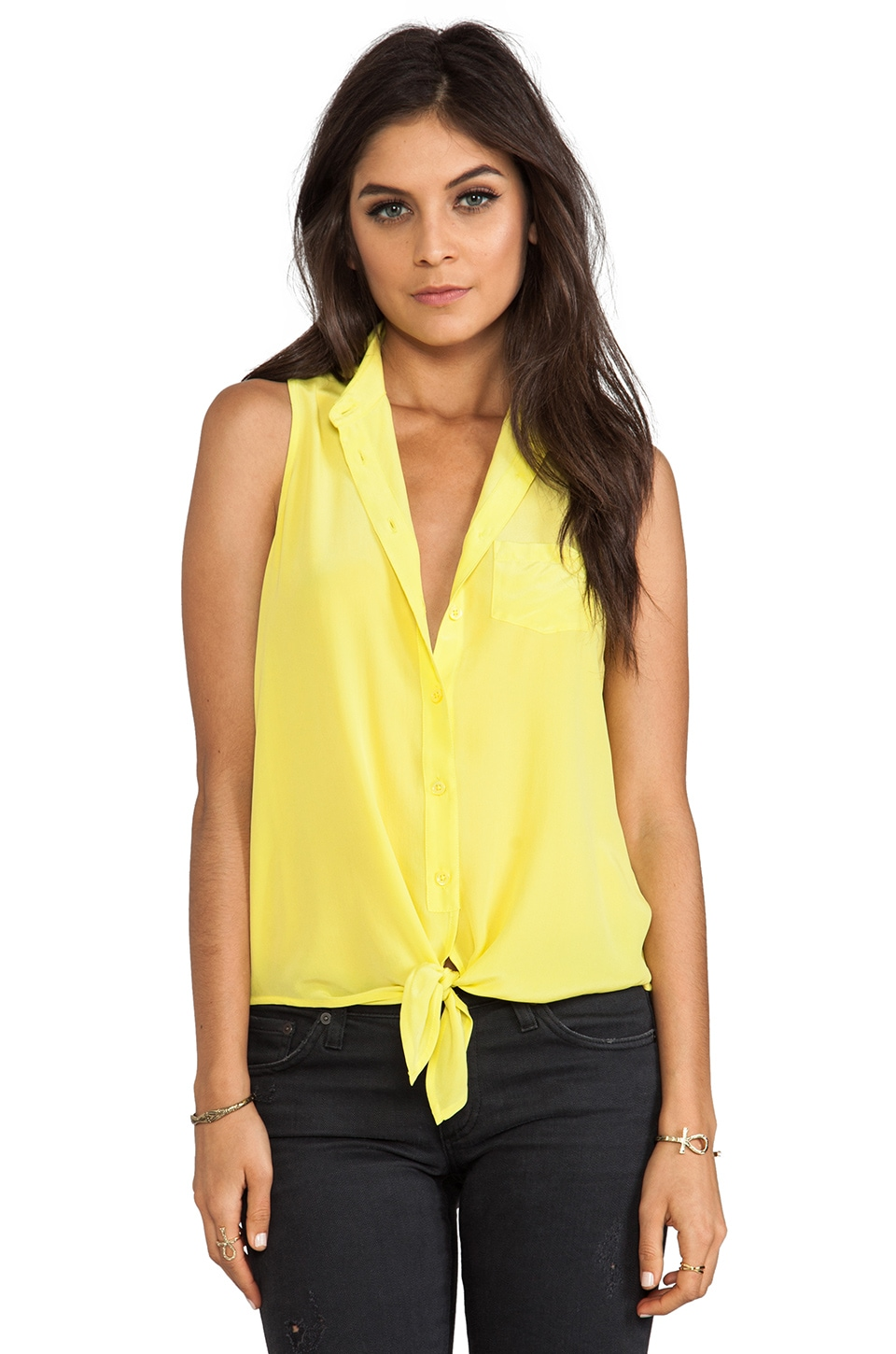 Equipment Mina Sleeveless Tie Front Blouse in Canary