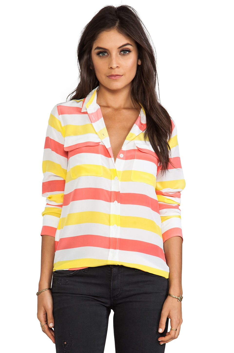Equipment Cabana Stripe Slim Signature Blouse in Blazing Yellow/Coral