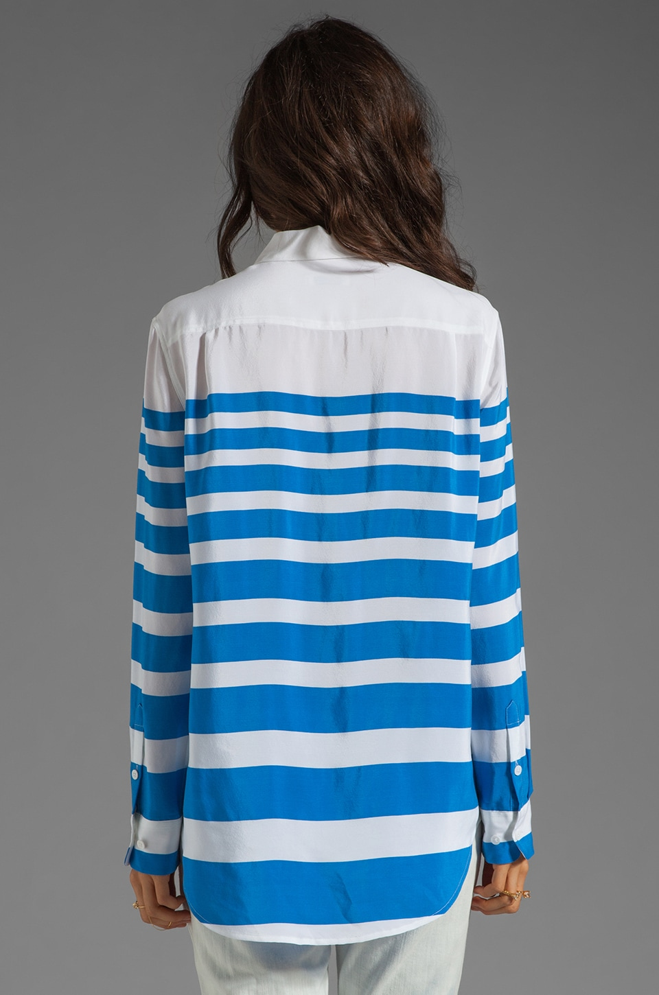 Equipment Lucky Stripe Reese Blouse in Electric Blue