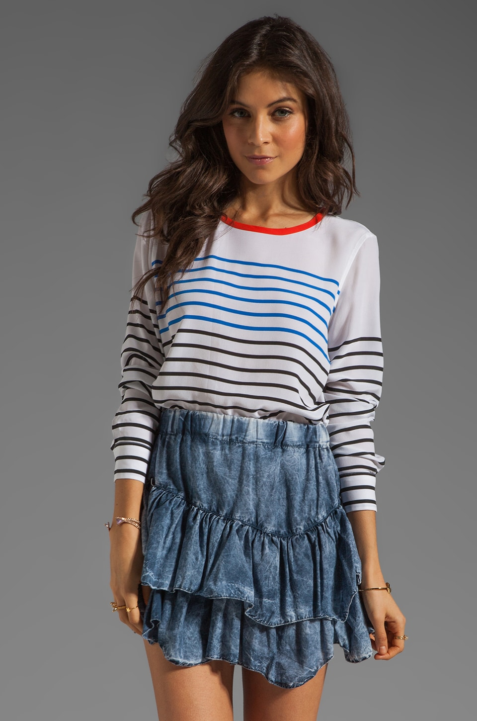 Equipment North Sails Stripe Liam Tee in Bright White Multi