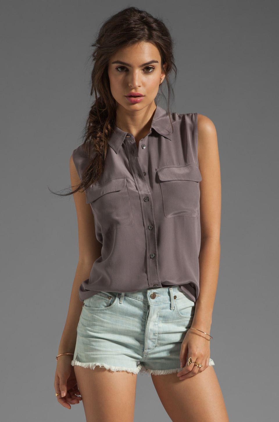 Equipment Sleeveless Slim Signature Blouse in Shark