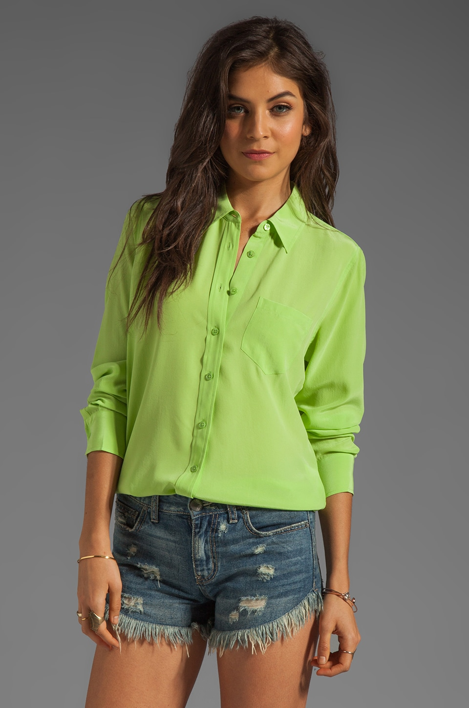 Equipment Brett Vintage Wash Blouse in Jade Lime