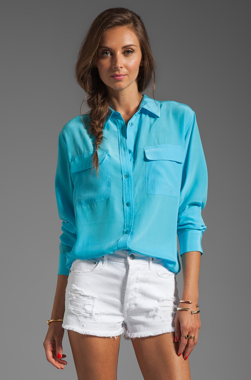 Equipment Signature Blouse in Deep Turquoise