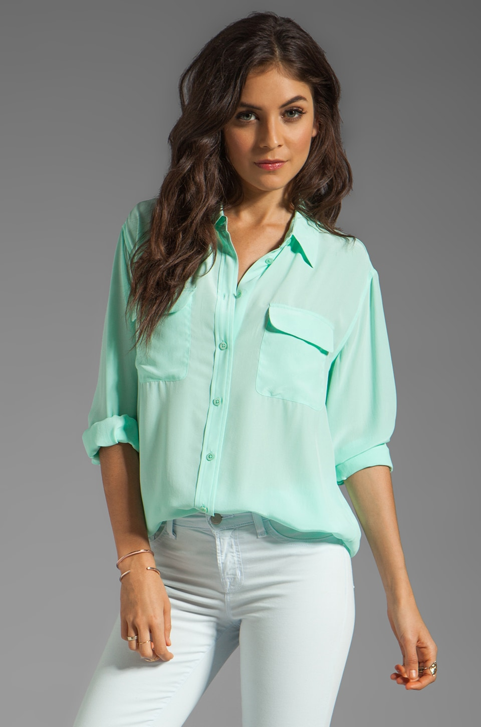 Equipment Signature Blouse in Ice Green