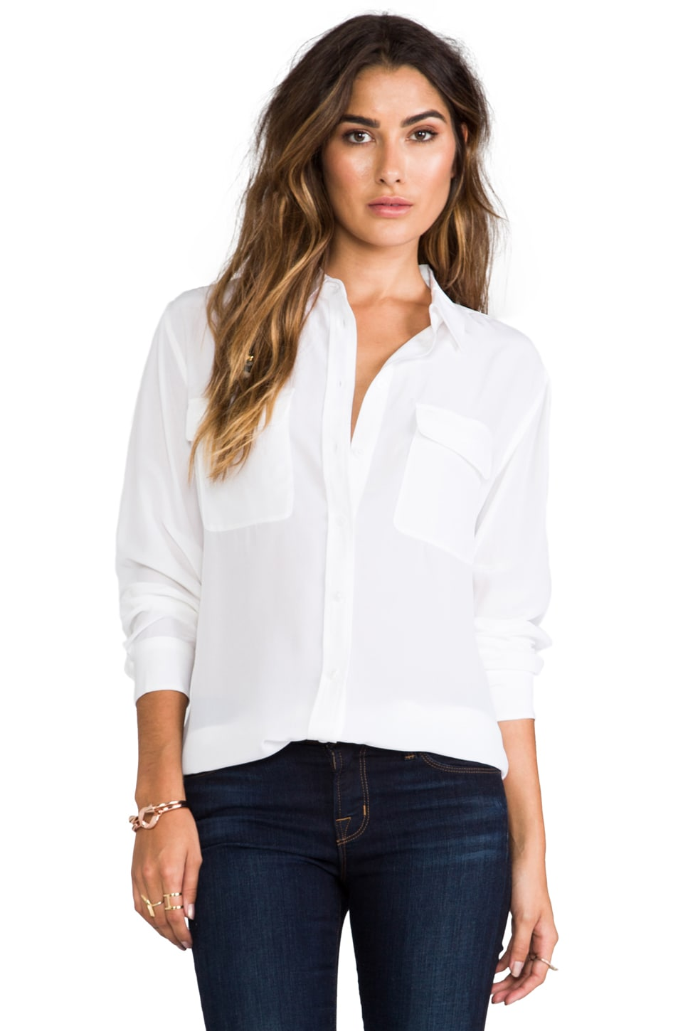 Equipment Signature Blouse in Bright White