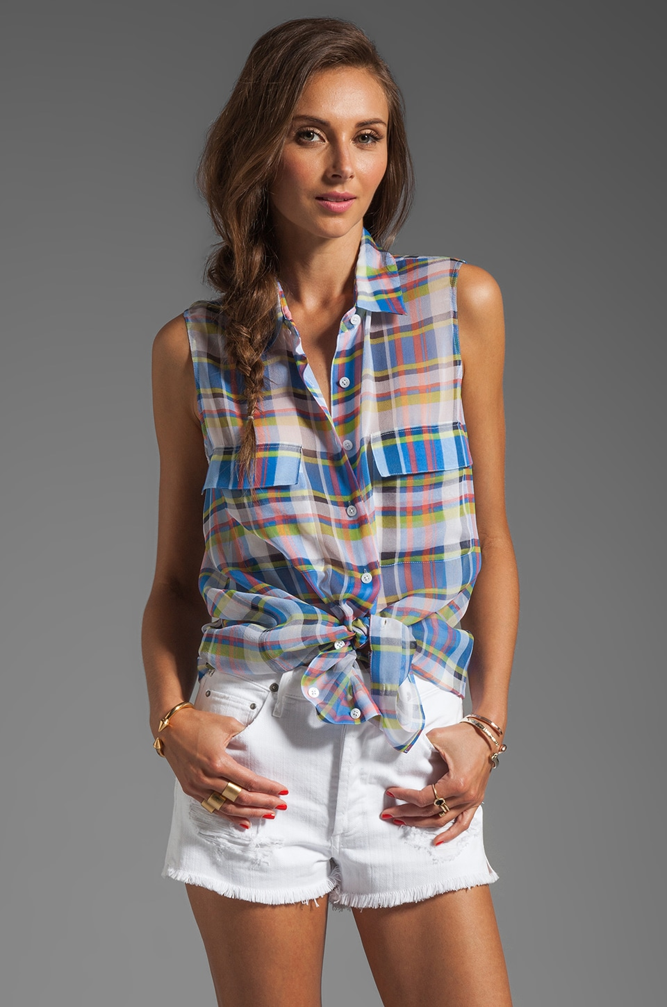 Equipment Shadowplay Plaid Sleeveless Signature Blouse in Blue Multi