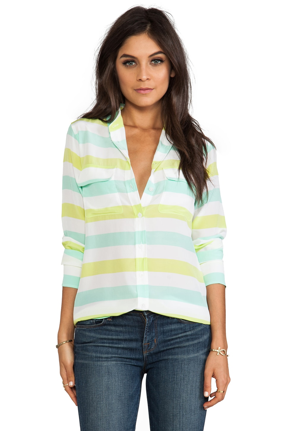 Equipment Cabana Stripe Slim Signature in Lime/Ice Green