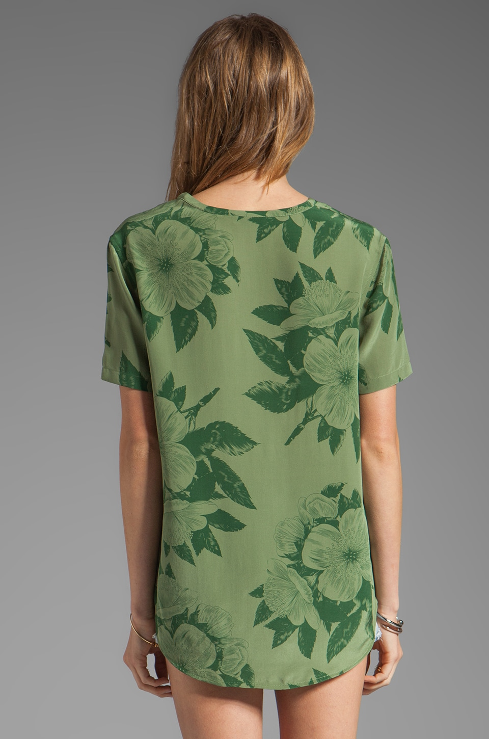 Equipment Tropical Floral Riley Tee in Safari Green
