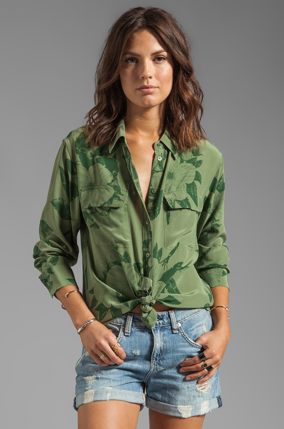 Equipment Tropical Floral Signature Blouse in Safari Green