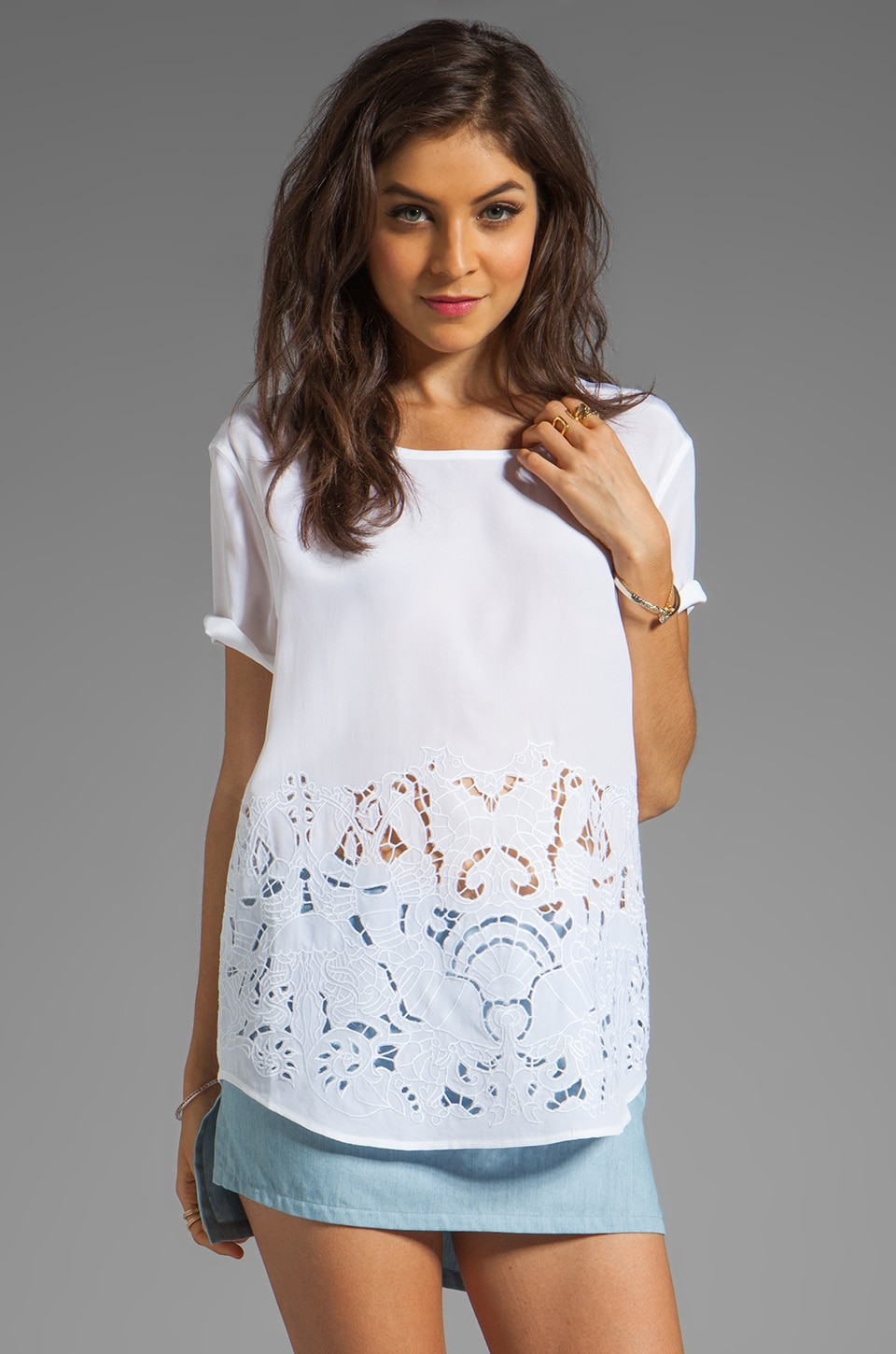 Equipment Under the Sea Embroidery Top in Bright White