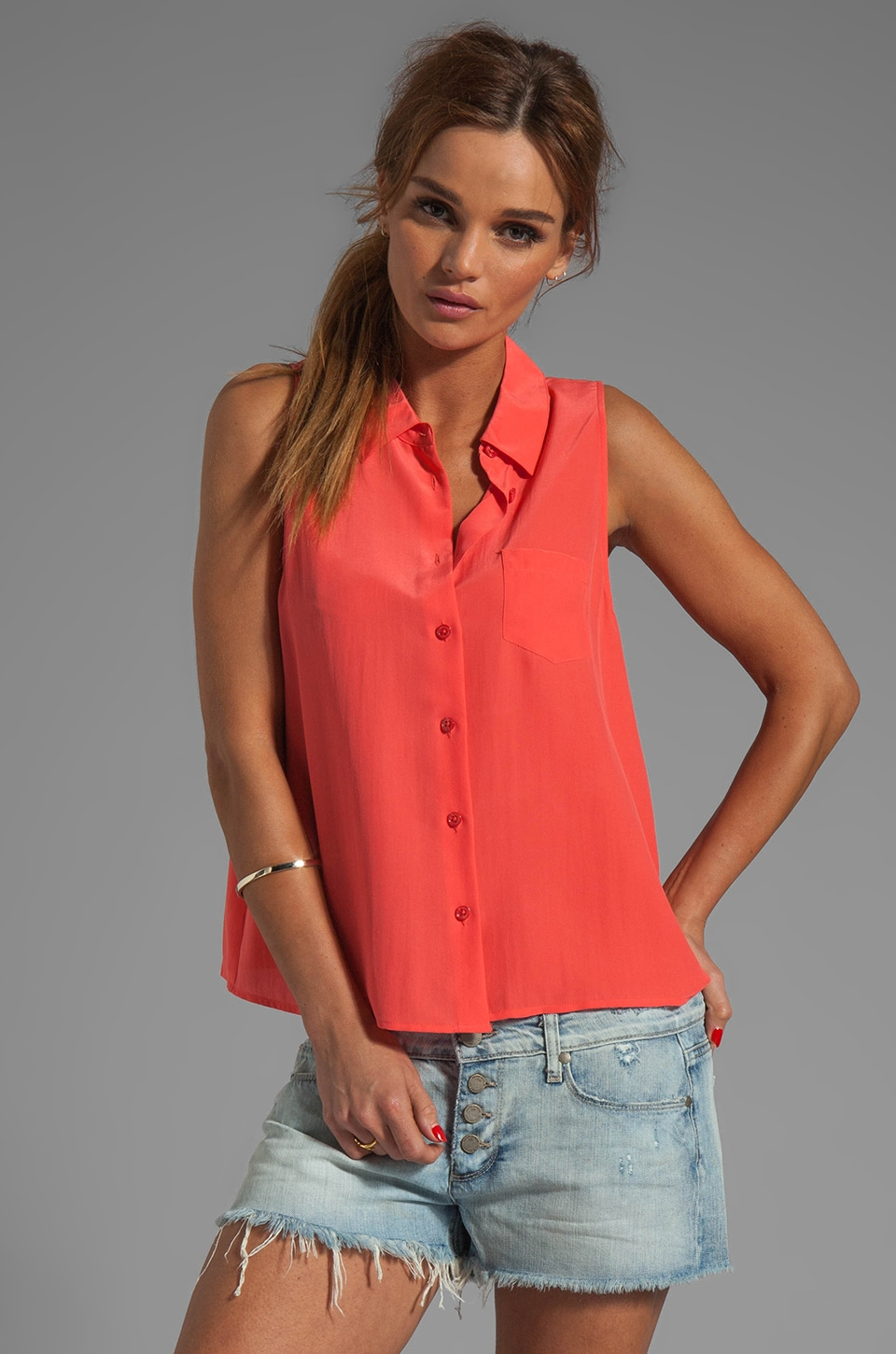 Equipment Mina Sleeveless Blouse in Cayenne