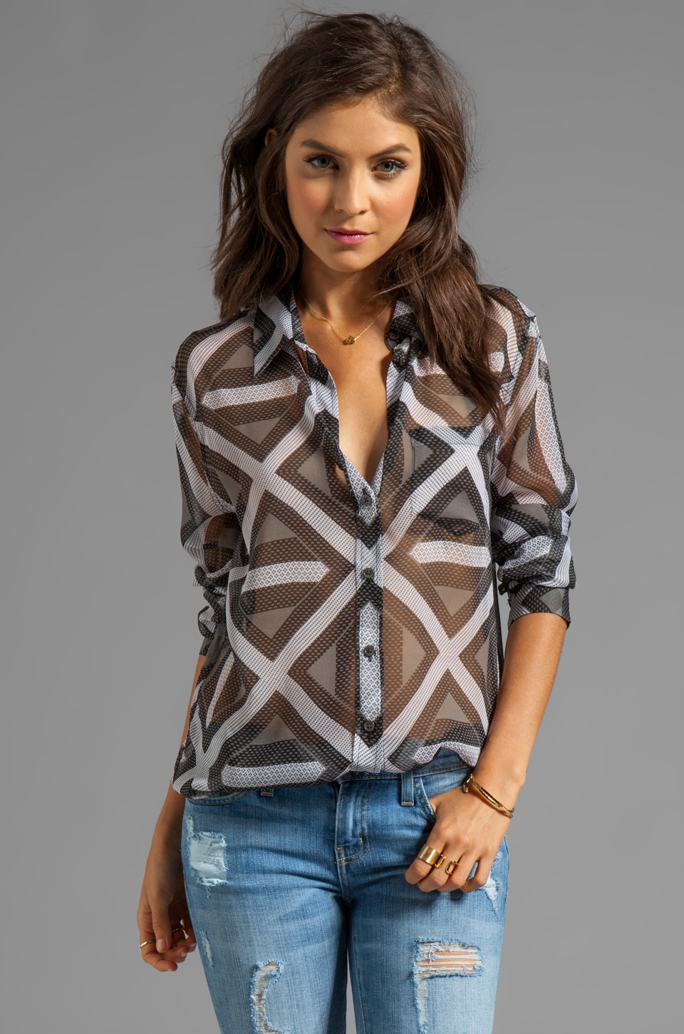 Equipment Linear Jacked Printed Reese Blouse in Black