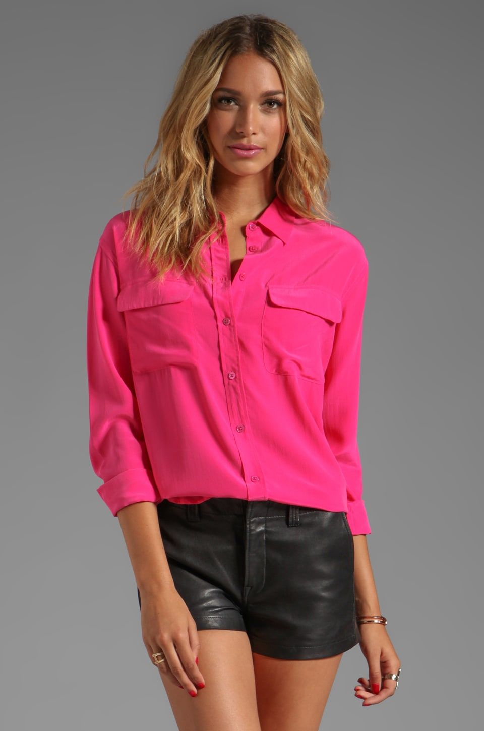 Equipment Signature Blouse in Fuchsia