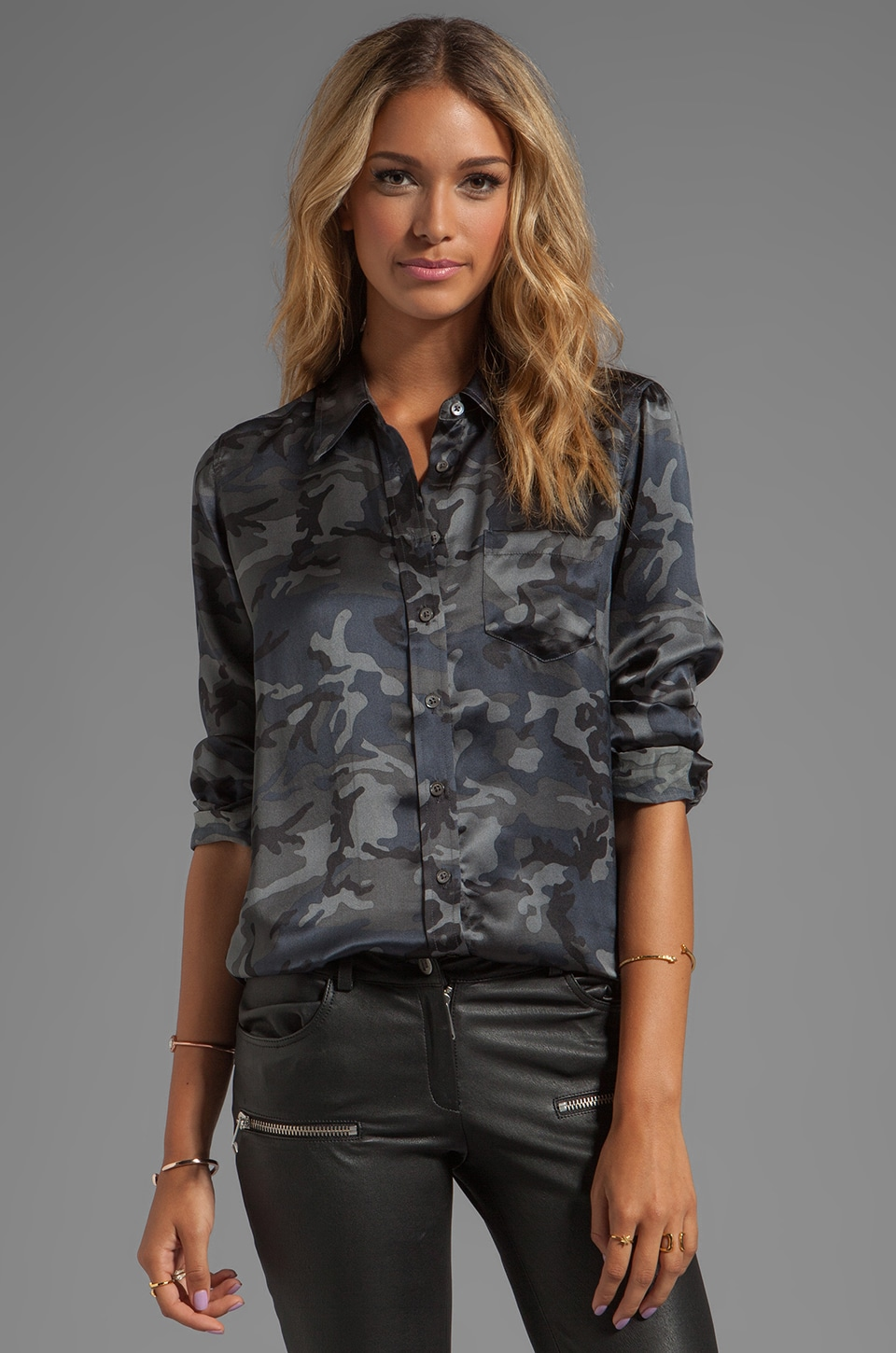 Equipment Underground Camo Printed Brett Blouse in Traditional Camo