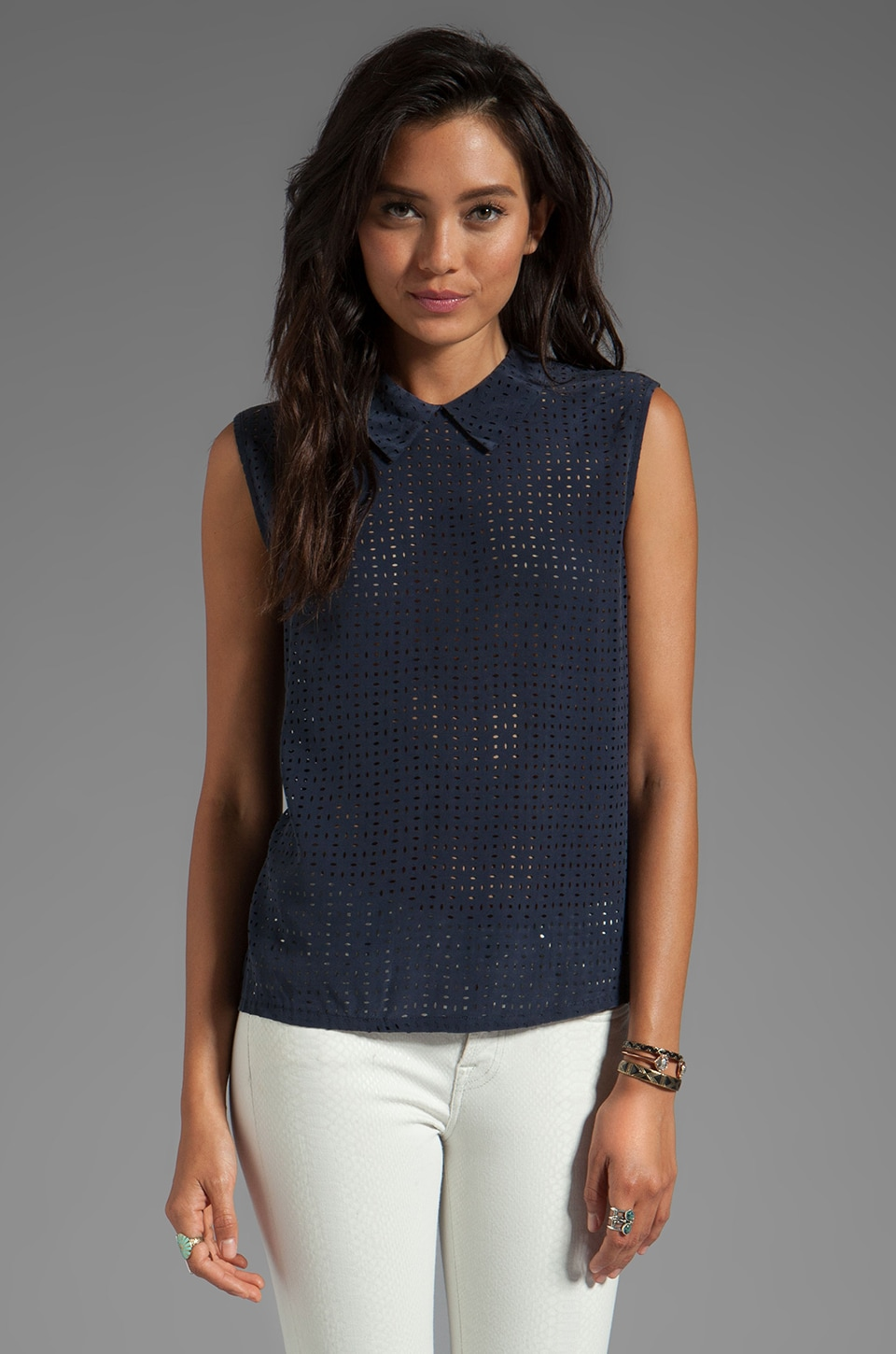 Equipment Laser Cut Elliott Sleeveless Top in Peacoat
