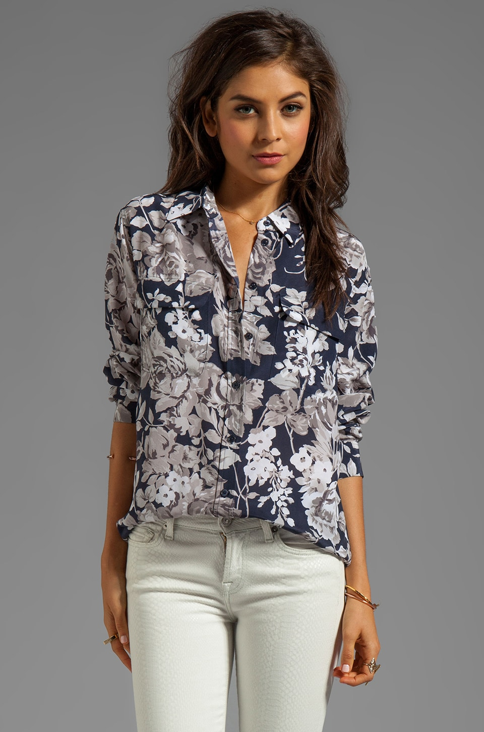 Equipment Countryside Floral Printed Signature Blouse in Peacoat