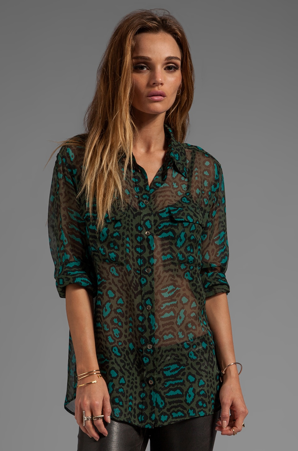 Equipment Distressed Hyde Printed Signature Blouse in Dark Army