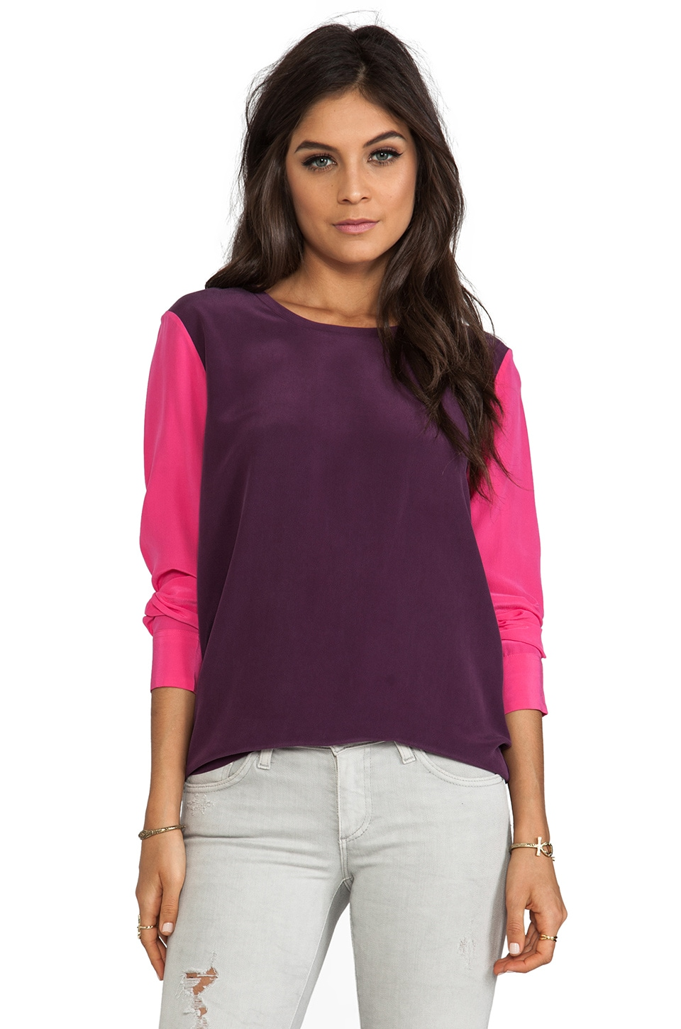 Equipment Colorblock Liam Blouse with Contrast Sleeves in Cabernet/Fuchsia