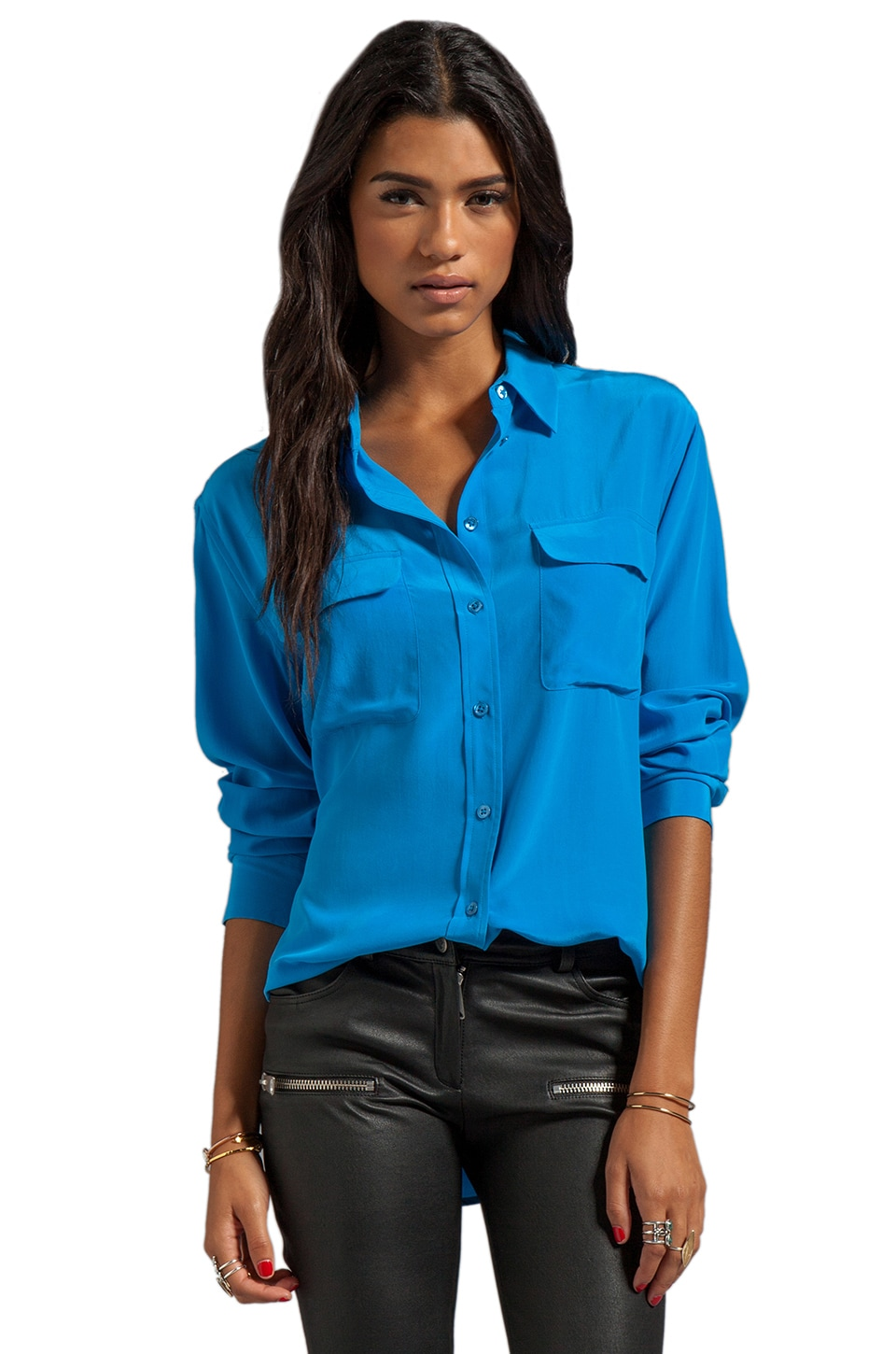 Equipment Signature Blouse in Klein Blue
