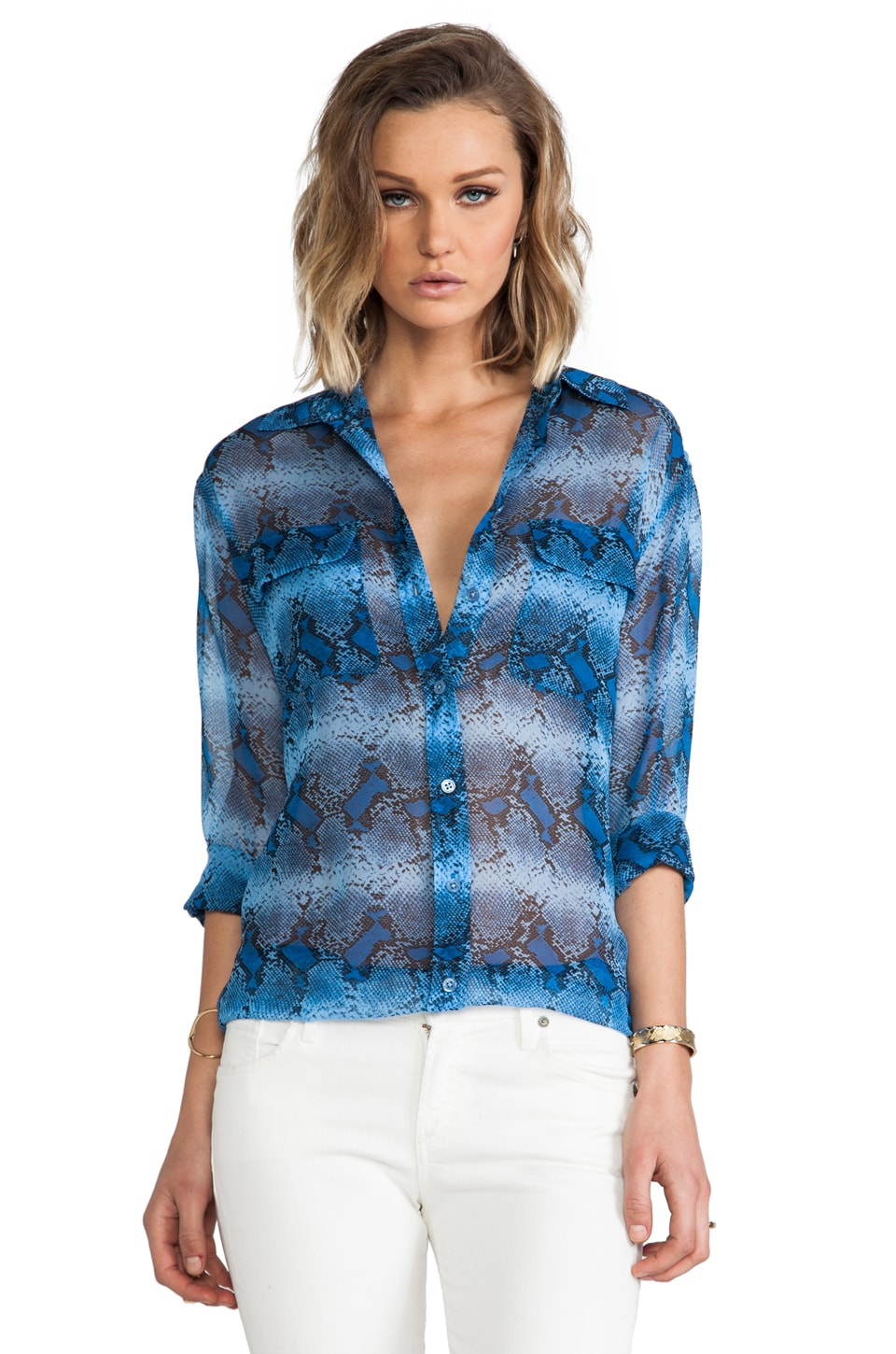 Equipment Diamondback Stripe Printed Signature Blouse in Parisian Blue