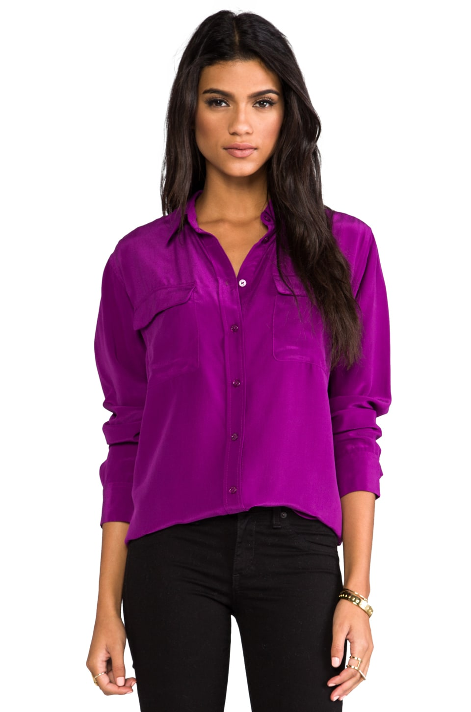 Equipment Signature Vintage Wash Blouse in Grape